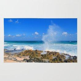 Cozumel teal water ocean crash wave water spout Rug