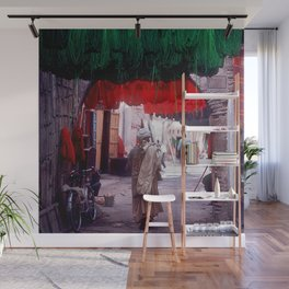Marrakesh, Morocco: Wool Drying in Marketplace Wall Mural