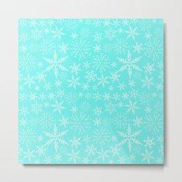 Mint Blue Snowflakes Metal Print