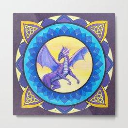 The Dragon Guide - celtic knot mandala Metal Print