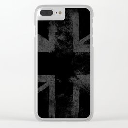 Grey Grunge UK flag Clear iPhone Case