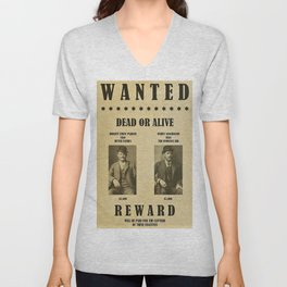 Butch Cassidy and the Sundance Kid Wanted Poster Dead or Alive $5,000 Reward Each Unisex V-Neck