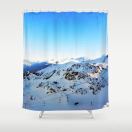 Shades of blue at the mountains Shower Curtain