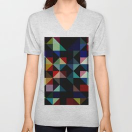 Ovinnik - Abstract Coloful Dark Diamond Shape Art Unisex V-Neck