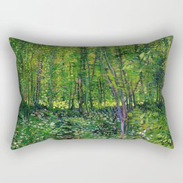 Vincent Van Gogh Trees and Undergrowth 1887 Rectangular Pillow