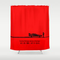 delorean Shower Curtains featuring DeLorean by Tony Vazquez