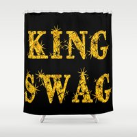 swag Shower Curtains featuring KING SWAG by SammieEnglishArt
