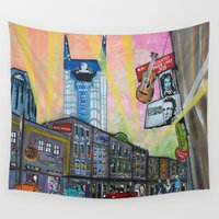 broadway Wall Tapestries featuring The Bright Lights of Lower Broadway by Heather Wilkerson Art