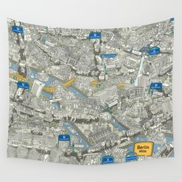 Illustrated map of Berlin-Mitte. Green Wall Tapestry