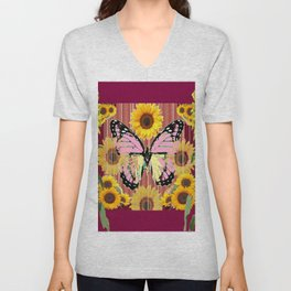 BURGUNDY SUNFLOWERS & PINK BUTTERFLY ART Unisex V-Neck
