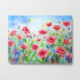 Watercolor red poppy field Metal Print