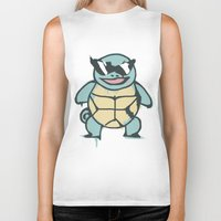 squirtle Biker Tanks featuring Ash's Squirtle (Squirtle Squad Leader) by Studio Momo╰༼ ಠ益ಠ ༽