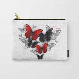 Realistic Black and Red Morpho Butterflies Carry-All Pouch