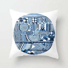 Circle Pattern Blue Throw Pillow