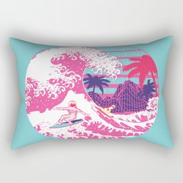 Spaceman surfing The Great pink wave Rectangular Pillow