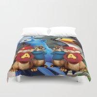 cartoon Duvet Covers featuring Chipmunk Cartoon by Maxvision