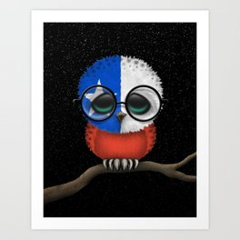 Baby Owl with Glasses and Chilean Flag Art Print