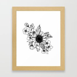 Bouquet of Flowers with Sunflower / Fall floral lineart Framed Art Print