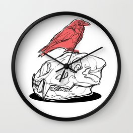 Red Raven Wall Clock