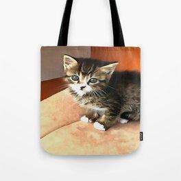 Tabby Cat Named Pipsqueak  Tote Bag