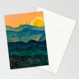 Textured mountainscape Stationery Cards