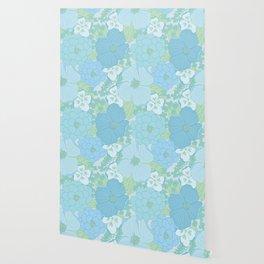 Light Blue Pastel Vintage Floral Pattern Wallpaper
