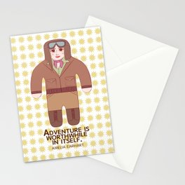 Amelia Earhart Illustration Stationery Cards