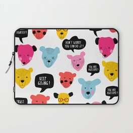 Motivational bears illustration Keep Going! You're Awesome ! Laptop Sleeve