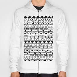 Hand painted black white watercolor aztec pattern Hoody