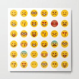 Cute Set of Emojis Metal Print