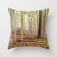 indiana Throw Pillows featuring Indiana woods by Bonnie Jakobsen-Martin