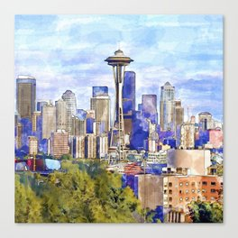 Seattle View in watercolor Canvas Print