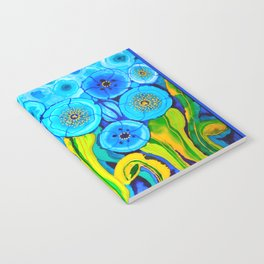 Field of Blue Poppies with Top and Bottom Border Belize Notebook