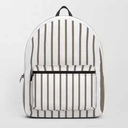 Mulch Brown Pinstripe on White Backpack