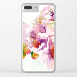 Sakura - Cherry Tre Flowers Watercolor Clear iPhone Case