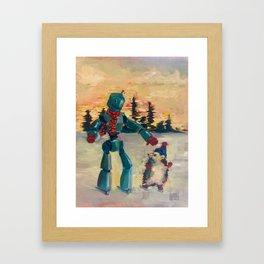 Robot iceskating with hedgehog Framed Art Print