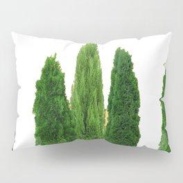 GREEN CYPRESS TREES ON WHITE Pillow Sham