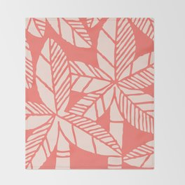 Tropical Palm Tree Composition Coral Throw Blanket