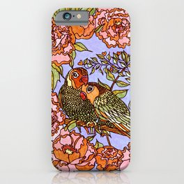 Lovebirds With Peony Wreath iPhone Case