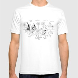 Funny Figurative Line Drawing of Alys Beach Community on 30a T-shirt