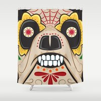 pit bull Shower Curtains featuring Pit Bull Sugar Skull by Granman