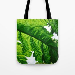 Torn Large Leaf Green Leaf Tote Bag