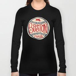 Hand Drawn Baseball for Boston with custom Lettering Long Sleeve T-shirt