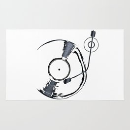 Record Deck Background Rug
