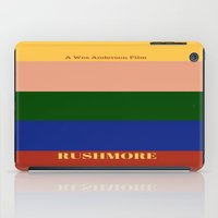 rushmore iPad Cases featuring Rushmore minimalist poster by cinemaminimalist