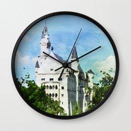 Neuschwanstein castle in watercolor Wall Clock
