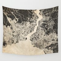 istanbul Wall Tapestries featuring istanbul map ink lines by NJ-Illustrations