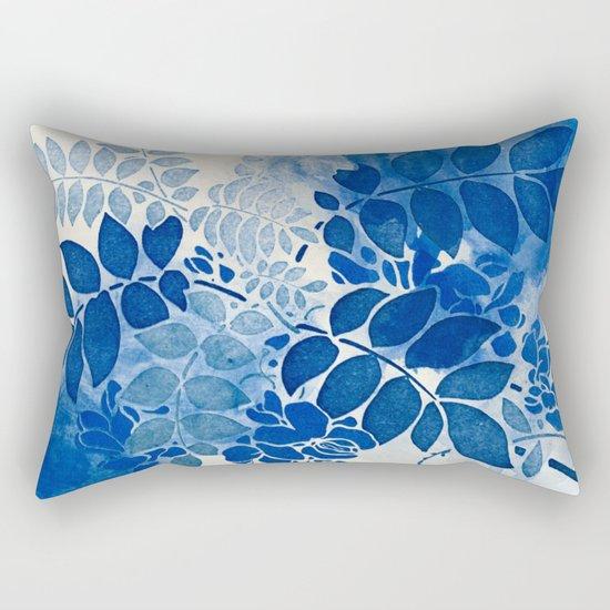 monochrome floral in blue Rectangular Pillow