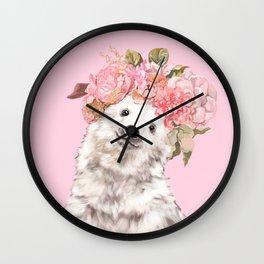 Baby Polar Bear with Flowers Crown Wall Clock