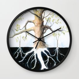 Underneath, Mother Tree and Seedlings, Surreal Illustration Wall Clock